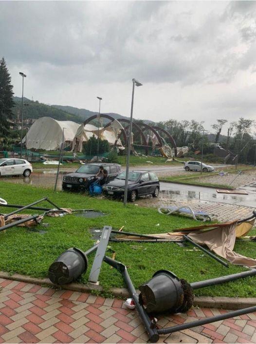 Arzignano (Vicenza) completamente distrutto il centro sportivo e il campo da calcio